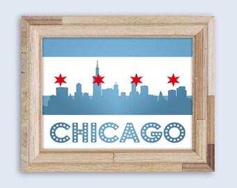 Chicago Flag Skyline Print , DIY Printable Wall Art, Digital Art, Print At Home, Chicago Flag Wall Art