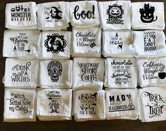 Halloween Flour Sack Towel - Color - Tea Towel - Funny Towel - Kitchen Towel