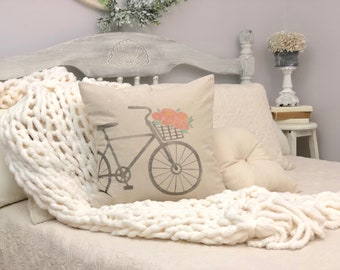 Bicycle with flower basket pillow COVER -  flower basket pillow - bicycles - bicycle decor - cottage decor - cottage style - farmhouse style