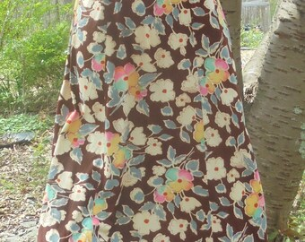Brown floral dress  maxi  vintage summer frock boho  70s does 30s small  from vintage opulence on Etsy