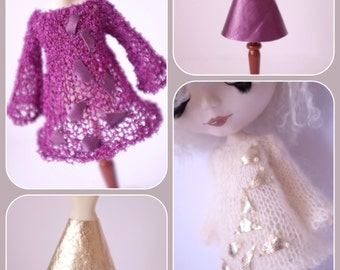 "PDF pattern for Airy Fairy tunic dress and vinyl skirt for 12"" Blythe, Middie Blythe and Monster High dolls"