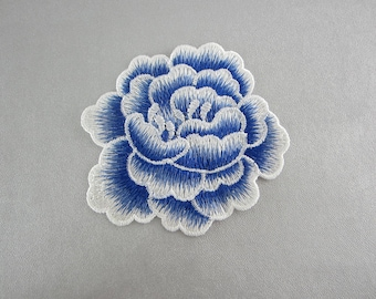 Blue Floral Applique Embroidery Patches