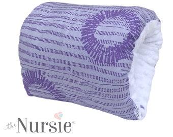 NURSIE® Breastfeeding Arm Pillow/ Purple and White Arm Nursing Support Pillow/ Arm Breastfeeding Travel Pillow/Patented