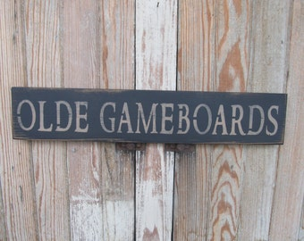 Primitive Country Olde Gameboards Hand Stenciled Wooden Sign GCC6215