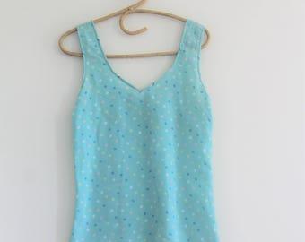 mint 80's dot blouse // vintage pastel tank