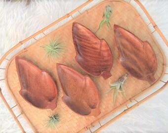 Set of Four Vintage Wooden Leaf Bowls