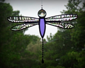 Purple Dragonfly Suncatcher Stained Glass
