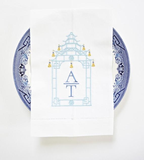 Pagoda Monogram V Embroidered Dinner Napkins, Linen Towels, wedding or hostess gift, bridal shower gift, kitchen towels
