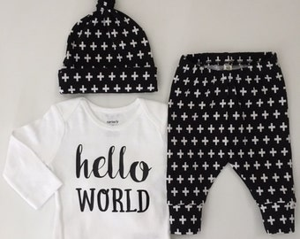 NEW! Black with White Plus/Newborn Outfit/Bring Home Outfit/Gender Neutral