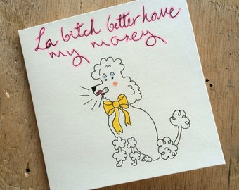 Cheeky Poodle hand illustrated greeting card
