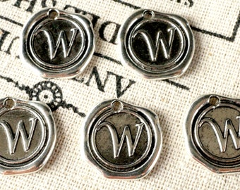 Alphabet letter W wax seal charm silver vintage style jewellery supplies
