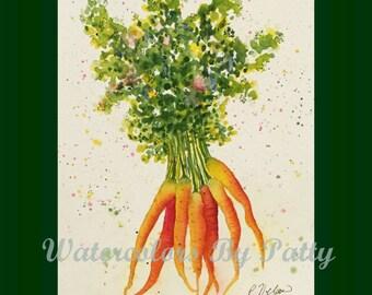 Carrots  Watercolor Print 8x10