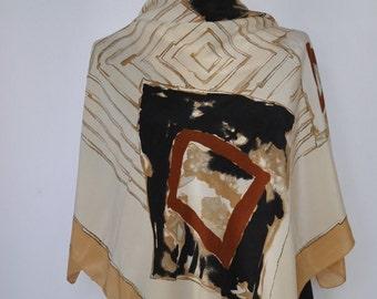 Vintage FELICIANI printed silk scarf ....(005)