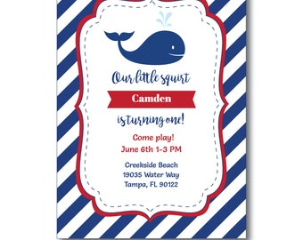 Whale Party Invitation, Whale Party Invitation with Editable Text, Kids Whale Invitation, Whale Party, Instant Download, Templett