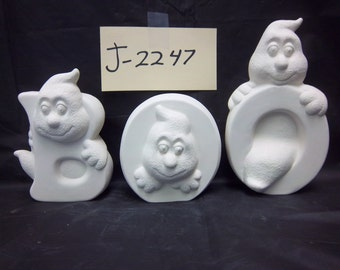 Boo Ghost J-2247 set of 3 ceramic bisque u Paint it yourself