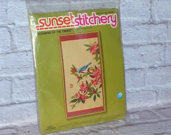 Sunset Stitchery Songbird of the Orient CREWEL EMBROIDERY KIT Sealed 1973 10x20