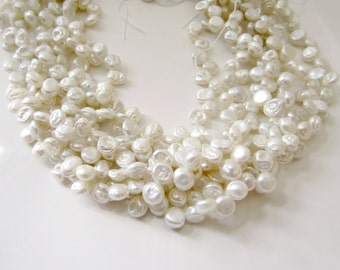 White Keshi Pearls, Ivory Pearls, Freshwater Pearls, Top Drilled Keshi, Rounded Keshi, White Petal Pearls 5mm - 6mm, Full Strand