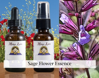 Sage Flower Essence, 1 oz Dropper or Spray for Wisdom, Ability to See Things From a Higher Perspective