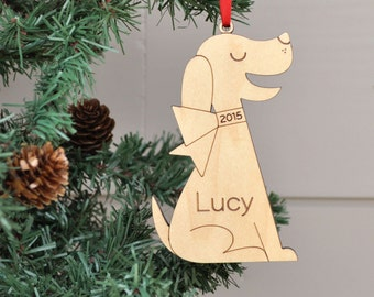 Classic Dog Ornament: Personalized Name 2018 Wooden Dog Christmas Ornament, Puppy, Pets or Kids