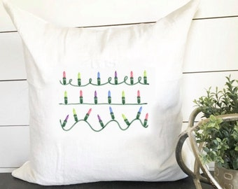 Christmas Light Strand Pillow Cover 18 x 18 // Christmas / Christmas Pillow / Holiday / Throw Pillow / Accent Pillow / Gift