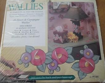 Lot 25 décos papier peint Wallies Fleurs de campagne