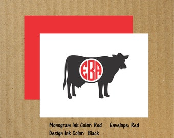 Cow Note Cards, Set of 10, Monogram Cow Note Cards, Monogram Note Cards, Cow, Cow Monogram, Thank You Cards, Cow Note Cards, 4-H Note Cards
