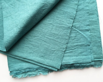 cotton blended linen fabric. japanese light weight tumbler washer fabric. 95cm wide (37.4in). sold by 50cm long (19.6inch). smokey aqua