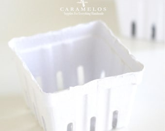 Set of 3 White Berry Baskets Paper Pulp