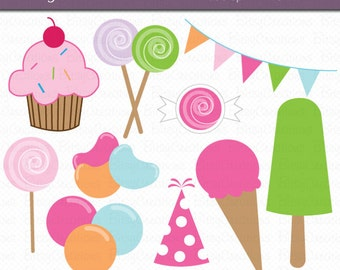 Sweet Treats Digital Art Set Clipart INSTANT DOWNLOAD Candy Clipart Ice Cream Clipart