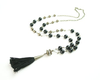 FREE SHIPPING Black and Brass Luxe Tassel Necklace