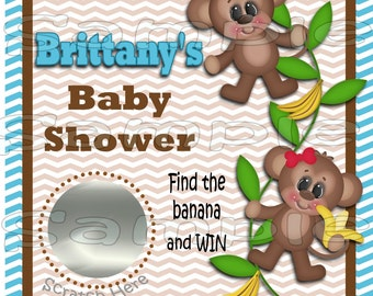 Baby Scratch off cards Monkey Baby boy Shower Game Scratch tags Party Scratch off game Favor Invitations Scratch off tags 12 Precut printed