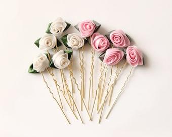 Ribbon rose hair pins, Pink or Ivory, Small rose hair pins, Floral hair clip set, Bridal hair flower pins, Ribbon rosette pins, Bridal updo
