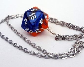 Dice Pendant Necklace - Orange and Blue Swirl D20 Twenty Sided Dice Jewelry - Geeky Gamer Jewelry