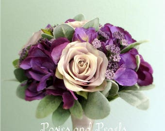 "Lavender Rose and Purple Hydrangea Silk Flower Wedding Bouquet with Queen Anne's Lace, Bridal or Bridesmaid Bouquet, ""Sarah"""