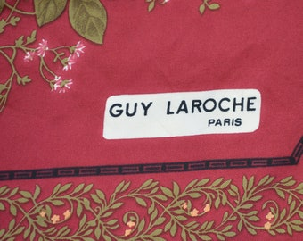 "Large Twill Silk Floral Scarf by Guy Laroche Made in France with Red Background Flowers Brown Border Hand Rolled 30"" Square"