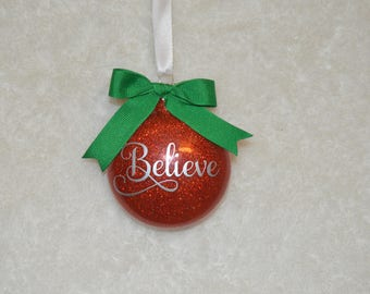 Personalized Custom Glass Glitter Ornaments Just Married Merry Christmas Mr and Mrs Baby's First Christmas Engagement