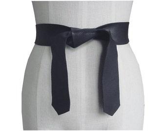 Soft Leather Tie Belt Raw Edge Goatskin or Seamless Cowhide Black Strap Belt Sash Dress belt women Light Coat Belt Basic Collection Tie on