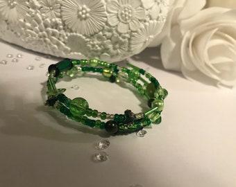 Green Memory Wire Bracelet