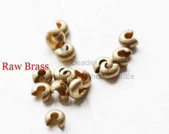 100 Pieces / Raw Brass / Crimp Cover / 4mm  (CX343//P349)