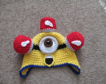 Crocheted Minion Hat----Costume---Fall/Winter Hat-----All Sizes
