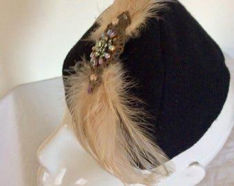 Black Felt Military Style Hat