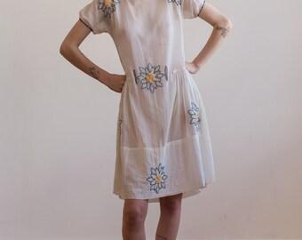 RARE 1920s drop waist embroidered muslin tea dress Art Deco antique