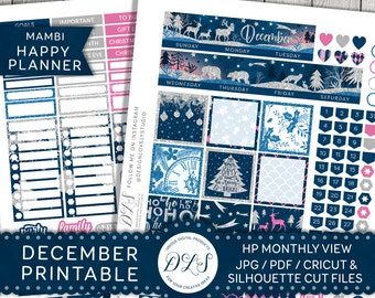 DECEMBER Monthly View Stickers Kit Mambi Happy Planner Printable Stickers Winter Planner Glitter Silhouette and Cricut Cut Files HPMV111