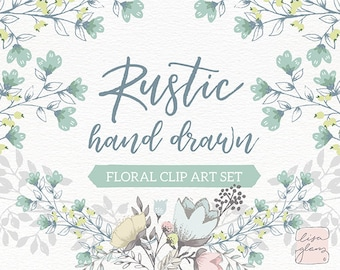 Rustic floral clipart set: hand drawn wedding floral clipart, downloadable wedding invitation clipart for commercial use / CM0062fb