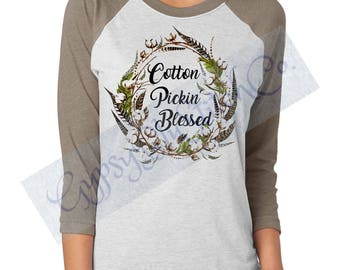 Cotton Pickin Blessed - Next Level Brand Raglan