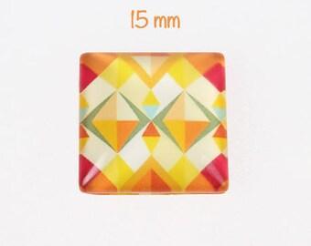 A square glass, multicolored, geometric design, 15 mm, thickness 5 mm cabochon