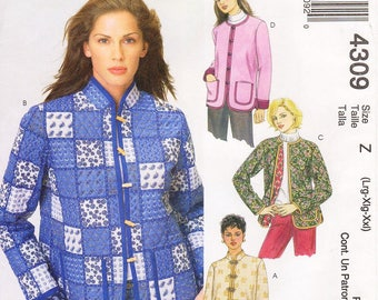 Sz Lrg/Xlg/Xxl - McCall's Jacket Pattern 4309  - Misses' Lined Jacket in Four Variations - McCall's Pattern
