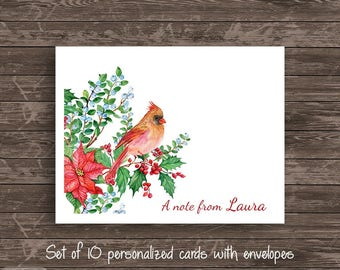 Watercolor Cardinal Personalized Note Card Set of 10 cards Stationery Notecard