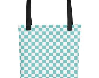 Aqua Checkerboard Pattern Tote bag