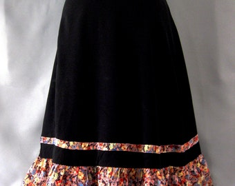 Vintage 1940S Black Crepe and Floral Silk Gypsy skirt.